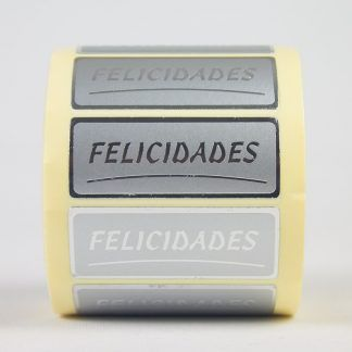 Rollo 500 etiquetas felicidades plata.